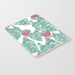 Watercolor tropical leaves abstract Notebook