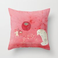 pig Throw Pillows featuring Pig by yael frankel