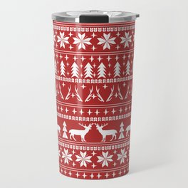 Deer christmas fair isle camping pattern snowflakes minimal winter seasonal holiday gifts Travel Mug