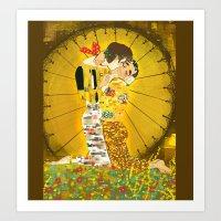 klaine Art Prints featuring KLAINE KISS by Tacodemuerte