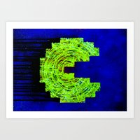 pac man Art Prints featuring Pac-man by Timmy Placement McCloskey