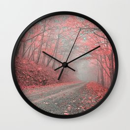 Misty Forest Road - Tickle Me Pink Wall Clock
