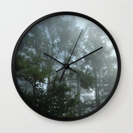 Morning Fog Through the Trees Wall Clock