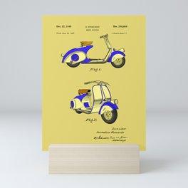 Motor Bicycle Patent Circa 1949- Blue Mini Art Print