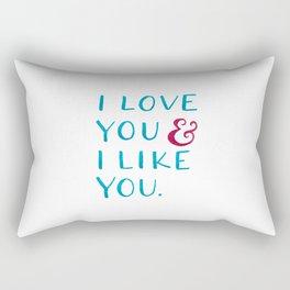 I love you & I like you -- Blue Rectangular Pillow
