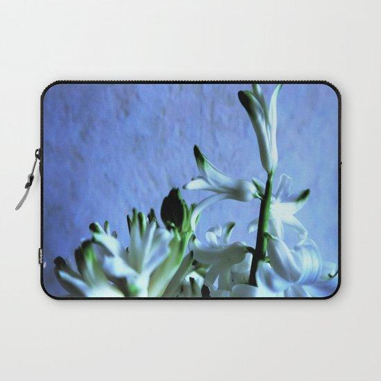 white hyacinthe on light blue background Laptop Sleeve