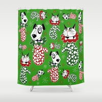 puppies Shower Curtains featuring Christmas Puppies & Kittens Stuffed into Mittens! by Amy Gale