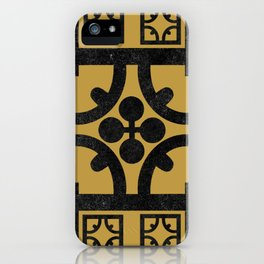 Traditional Yellow English Tudor Half-timbered House Pattern iPhone Case