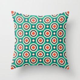 Mid Century Modern Circles Retro Bullseye Pattern Throw Pillow