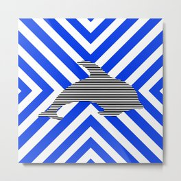 Dolphin - abstract geometric pattern - blue and white. Metal Print