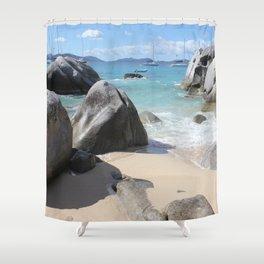 Scenic Beach at The Baths on Virgin Gorda, BVI Shower Curtain