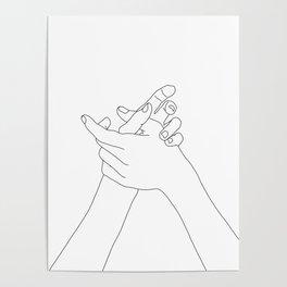 Hands line drawing illustration - Esmie Poster