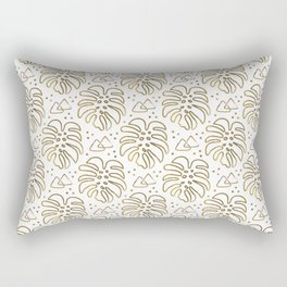Gold Monstera on White Rectangular Pillow