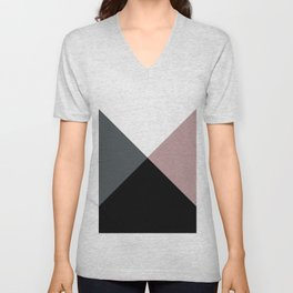Modern dusty pink gray black white geometrical Unisex V-Neck