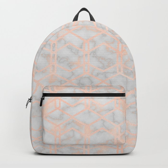 Geometric rose gold art deco on smokey marble Backpack