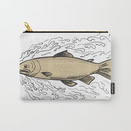 Brown Trout Waves Tattoo Carry-All Pouch