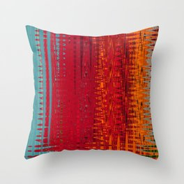 Warm red & turquoise Floor Pattern Art Throw Pillow
