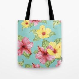 Tropical Hawaiian Hibiscus Floral Print Tote Bag