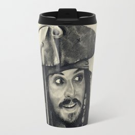 Captain Jack Sparrow ~ Johnny Depp Traditional Portrait Print Travel Mug