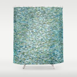 Blue Raindrops Juul art Shower Curtain
