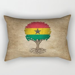 Vintage Tree of Life with Flag of Ghana Rectangular Pillow