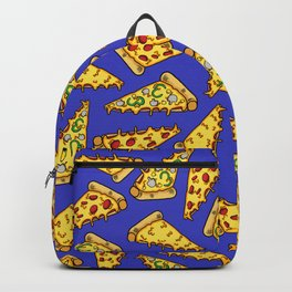 Pizza Slices on Blue - Cheesy, Warm, Gooey, Goodness Backpack