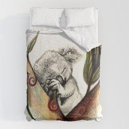 Koala sleeping Comforters