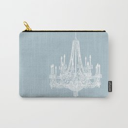 Chic White and Blue Chandelier   Carry-All Pouch