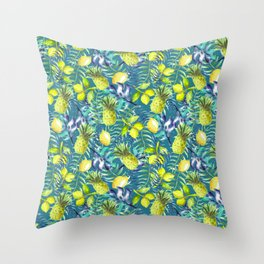 Tropical Pineapples & lemons cocktail Throw Pillow