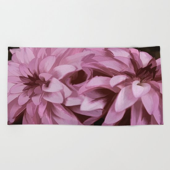 Just The Two Of Us - Painterly Dahlias Beach Towel