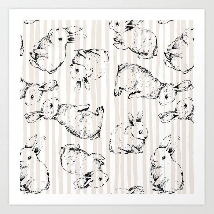 Vintage Bunnies Art Print