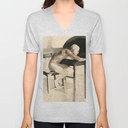 The Pondering Man' Male Figure Drawing in Classic Realism Unisex V-Neck