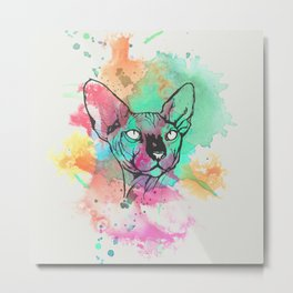 Watercolor Sphynx Metal Print