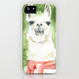 Llama with Red Scarf Watercolor iPhone Case