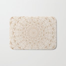 Brown Tan Intricate Detailed Hand Drawn Mandala Ethnic Pattern Design Bath Mat