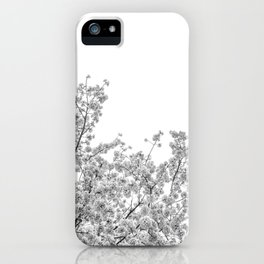 Cherry Blossoms (Black and White) iPhone Case