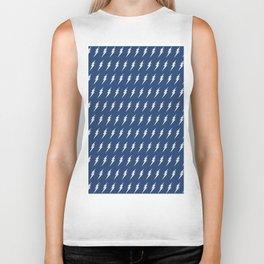 Lightning bolt pattern dark blue and white Biker Tank