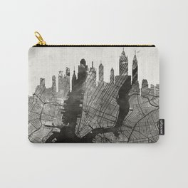 New York Skyline + Map #3 Carry-All Pouch