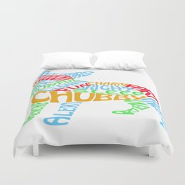Frenchie Word Cloud Duvet Cover