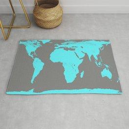 World Map Gray & Turquoise Rug