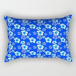 Blue Floral And Turtles Hawaiian Pattern Rectangular Pillow