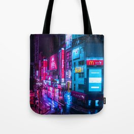 Post Apocalyptic Neon City Blues  - Tokyo Tote Bag