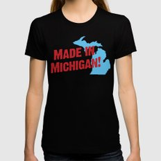 Made in Michigan Black LARGE Womens Fitted Tee