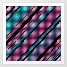 Pink Turquoise and Black Art Print