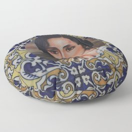 Spain 46 - Woman in Madrid with mosaic on the wall Floor Pillow
