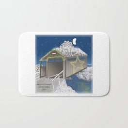 Vermont Covered Bridge at Christmas - Zentangle Illustration Bath Mat