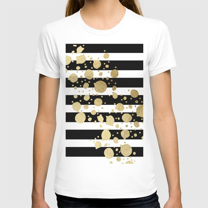 Faux Gold Paint Splatter on Black & White Stripes T-shirt