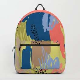 Modern coral brown blue black abstract brushstrokes Backpack