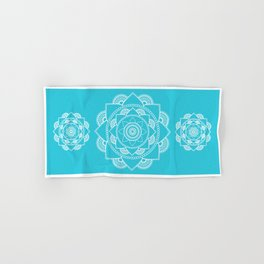 Mandala 01 - White on Turquoise Hand & Bath Towel