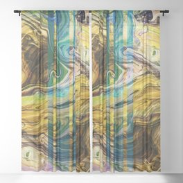 Abstract Painting - Fluid Painting 02 - Yellow, Brown, Gold, Blue - Modern Abstract Painting - Flow Sheer Curtain